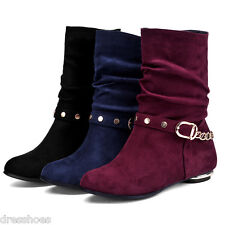 Women's Suede Fabric Kitten Heel Round Toe Shoes Mid Calf Boots AU Sz  2~10 O100