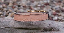 "NATURAL TAN DOG COLLAR LEATHER 1"" INCH WIDE FREE CUSTOM PERSONAL NAME STAMPED"