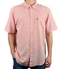 QUIKSILVER. Salmon / White. Button Up. Mens Collared T-Shirt. Sizes: S, M, L, XL