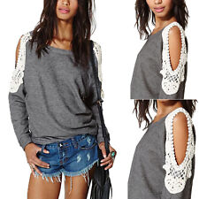 Womens Crochet Splice Off Shoulder Long Sleeve Shirt Tops Blouse Sweatshirts
