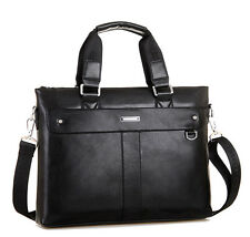 "Men's Leather Business Briefcase Handbag 14"" Laptop bag Shoulder Messenger Bag"