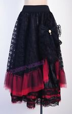 Gothic Black Red Lolita Punk Size S-6XL Lace Victorian SKIRT CM A3136_black