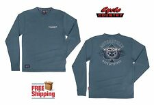 VICTORY MOTORCYCLES ATTITUDE LONG SLEEVE T-SHIRT BLUE TEE SHIRT MEN'S SPADE NEW