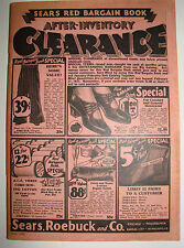 Vintage 1932 Sears, Roebuck & Co. Red Bargain Clearance Book Catalog