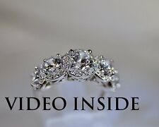 Round Cut 3.8CT 5 Stones Diamond Ring in Real 925 Sterling Silver
