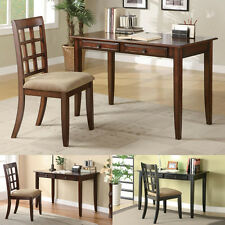 2PC Brown Black Cherry Wood Two Drawer Table Writing Desk Chair Cushion Seat Set