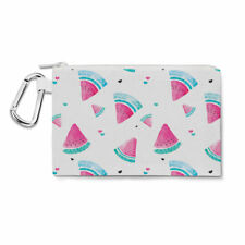 Watercolor Watermelon Canvas Zip Pouch - Pencil Case Multi Purpose Makeup Bag