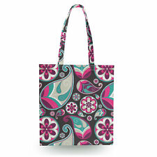 Sassy Paisley Canvas Tote Bag - 16x16 inch Book Gym Bag Optional Zip