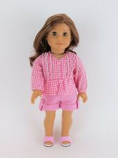 """Doll Clothes AG 18"""" Shorts Shirt Pink Gingham Made To Fit American Girl Dolls"""