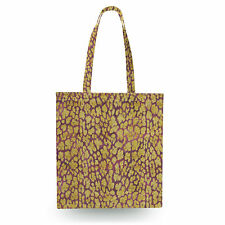 Gold Glam Leopard Canvas Tote Bag - 16x16 inch Book Gym Bag Optional Zip
