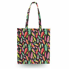 Tropical Feathers Tribal Canvas Tote Bag - 16x16 inch Book Gym Bag Optional Zip