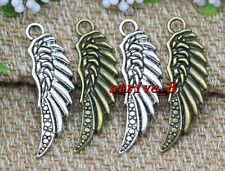 6/30/150pcs Antique Silver/Bronze bird wings Jewelry DIY Charms Pendant 39x13mm