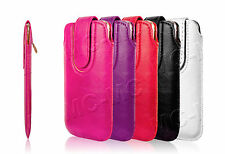 Pull Up Tab Leather Case Magnetic Sleeve Pouch Wallet Cover For LG Smart Phones