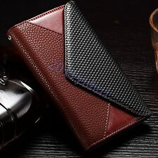 Luxury Real Leather Wallet Magnetic Back Case Cover With Card Pouch For LG G4