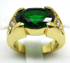 Jewelry Fashion Nice 10KT Yellow Gold Filled Emerald Men's ring Size:10 11