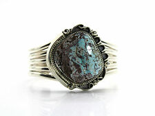 Navajo Dry Creek Turquoise Sterling Silver Cuff Bracelet Made By Leslie Nez Rare