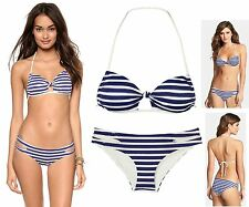 $164 L Space Rock The Boat Stripe BFF Halter Top & Estella Bottom Bikini Set