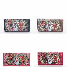Wallet Skull Rhinestone Womens Checkbook Long Trifold Love Is Forever Roses New