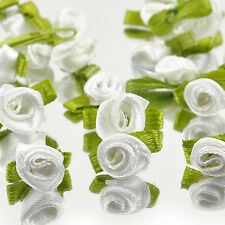 HOT 50pcs Ribbon Rose Wedding Flower Satin Decor Applique Craft Sewing Leave new