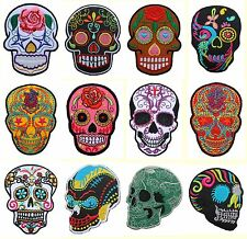 New Mexican Sugar Skull Day of the Dead Biker Patch Motorcycles Iron On Sew V.2