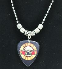 Tibetan Silver Guns and Roses Guitar Pick Pendant Necklace  2.4mm Bead Necklace