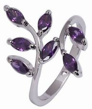 Fashion Jewelry 10KT White Gold Filled Women's Pretty Amethyst Ring Size:7 8 9