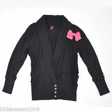 Dutch Jeans Girls Contrasting Hot Pink Bow and Buttons Cardigan Size 4/5/6/8