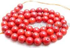 "SALE small 6mm round Red natural Coral loose beads strand 15""-los197"