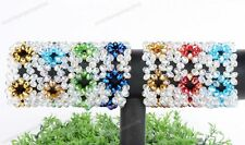 Women Crystal Glass Faceted Flower Rondelle Bead Strecthy Wide Bracelet Bangle