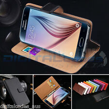 Premium Genuine Leather Wallet Case for Samsung Galaxy S6 Edge Plus Cover Stand