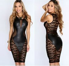 Women Sexy Lace Crochet Leather Mesh Bodycon Stretch Night Clubwear Mini Dress C