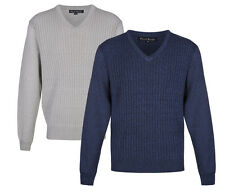 PIERRE ROCHE Gents Mens V-Neck Cables Knitted Jumper sweater
