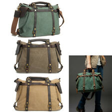 Vintage Large Capacity Canvas Womens Leather Shoulder Bag Duffle Travel Tote Bag