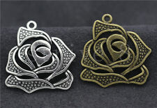 5/20/100pcs Antique Silver/Bronze Beautiful Rose Jewelry Charms Pendant 27x25mm