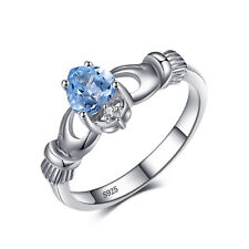 JewelryPalace 100% Natural Aquamarine Claddagh Ring Solid 925 Sterling Silver