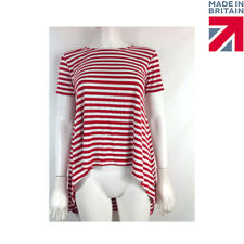 Womans Ladies Red and White Stripe Loose Fit Key Hole/Split Back Top Size 8-12