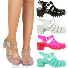 New Women Summer Jelly Slingback Cut Out Chunky Heel Sandals