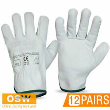 12 PAIRS X SAFETY PREMIUM COW GRAIN LEATHER WORK GLOVES - TRUCK/RIGGERS/TOWING