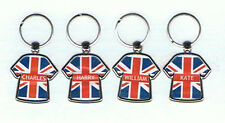 Personalised UK Union Jack Name Keyrings Key Ring Gift School Party Initial A