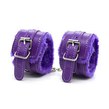 PU Leather Soft Fur Wrist Hands Ankle Cuffs Fetish Restraint Bondage Kit Purple