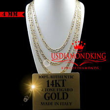 14K AUTHENTIC TWO TONE GOLD DIAMOND CUT FIGARO LINK CHAIN NECKLACE 4MM 20''~24''