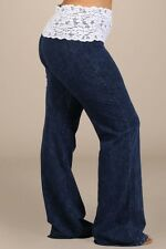 PLUS SIZE Mineral washed lace-waist bootcut pants sizes small-3X