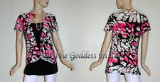 T24 PINK LAYERED ATTACHED KNIT TOP W/ NECKLACE WOMENS PLUS SIZE L XL 1X