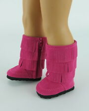 """Doll Clothes AG 18"""" Boots Fringe Suede Hot Pink Made To Fit American Girl Dolls"""
