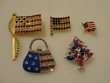 American flags USA red white blue pins pocketbook purse Christmas tree lapel