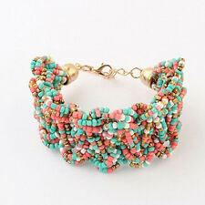 Women's Vintage Bohemian Charm Beads Bangles Woven Multilayer Bracelet Jewelry