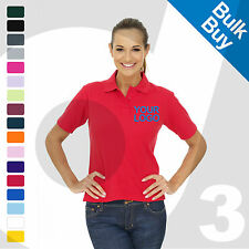 Ladies Personalised Embroidered / Printed Polo Shirts Workwear Text/Logo Lot