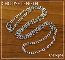 "Silver-tone Rolo Necklace Chain 45/62/77cm 18/24/30"" lobster clasp finding 1 pc"