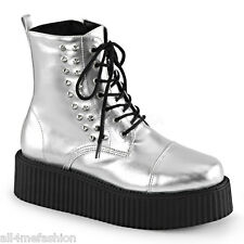 DEMONIA V-CREEPER-573 Silver Platform VEGAN Laceup Boots Gothic Punk Creepers