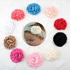 2Pcs Kid Baby Girl Lace Rose Flower Headband Hair Band Headwear Accessories HOT
